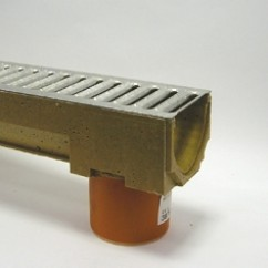 Aco gootelement met RVS driekant, lengte 1000 mm 110 uitloop